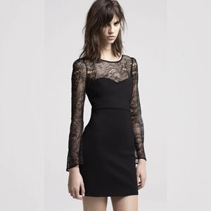 NEW MAJE Deraphine Lace paneled Jersey dress